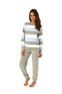 best sneakers 15628 0aea2 Details zu Damen Frottee Schlafanzug Pyjama mit Bündchen - tolle  Streifenoptik 201 93 238