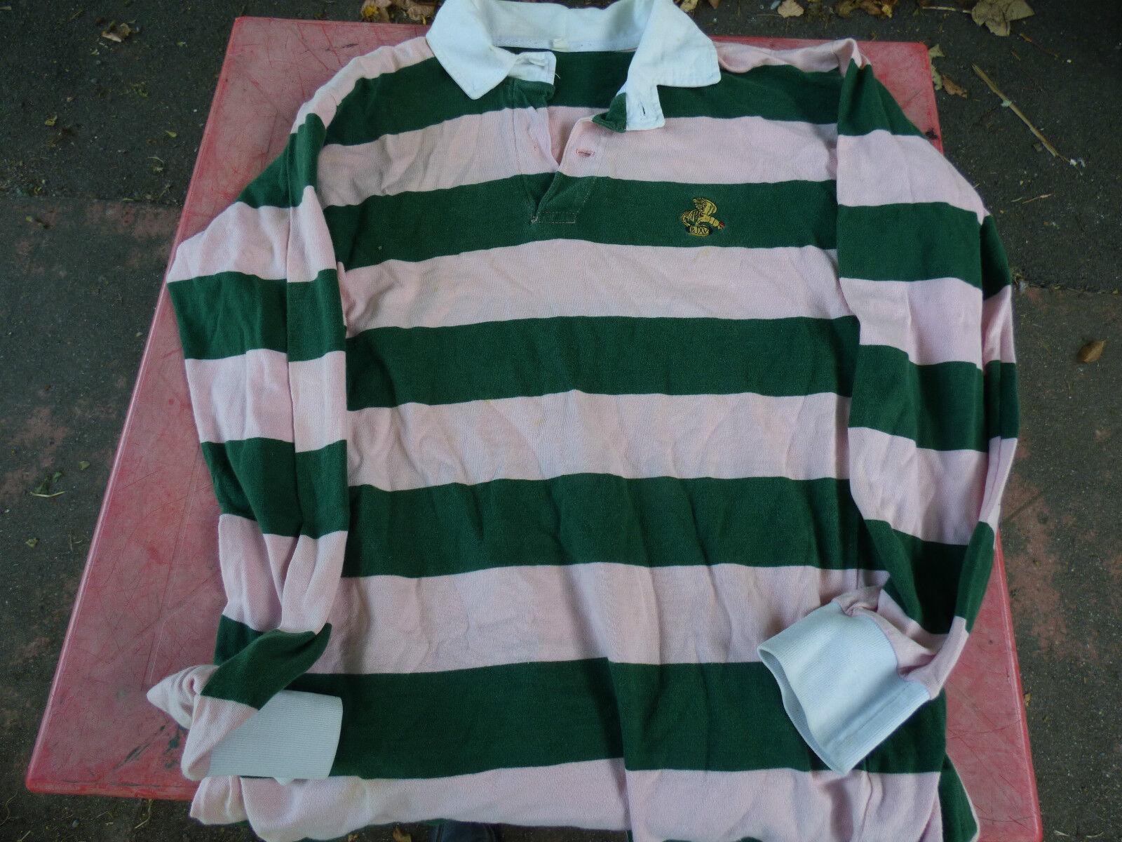 Polo de rugby Vintage Bataillon de Joinville vert et rose rare 69cm sur 54cm