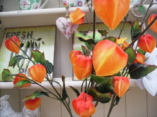 Bunch of 4 Stems of Artificial Orange Chinese Lanterns  78 cm