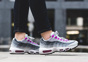 Details about Womens Nike Air Max 95 Sneakers New, White Grey Violet 307960 001