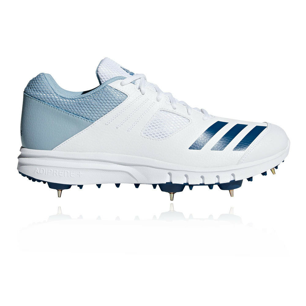 Adidas Mens Howzat Cricket Spike shoes White Sports Breathable Lightweight