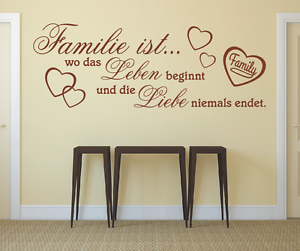 Wandtattoo Spruch , Familie wo Leben Liebe Wandsticker Sticker Wandaufkleber 7