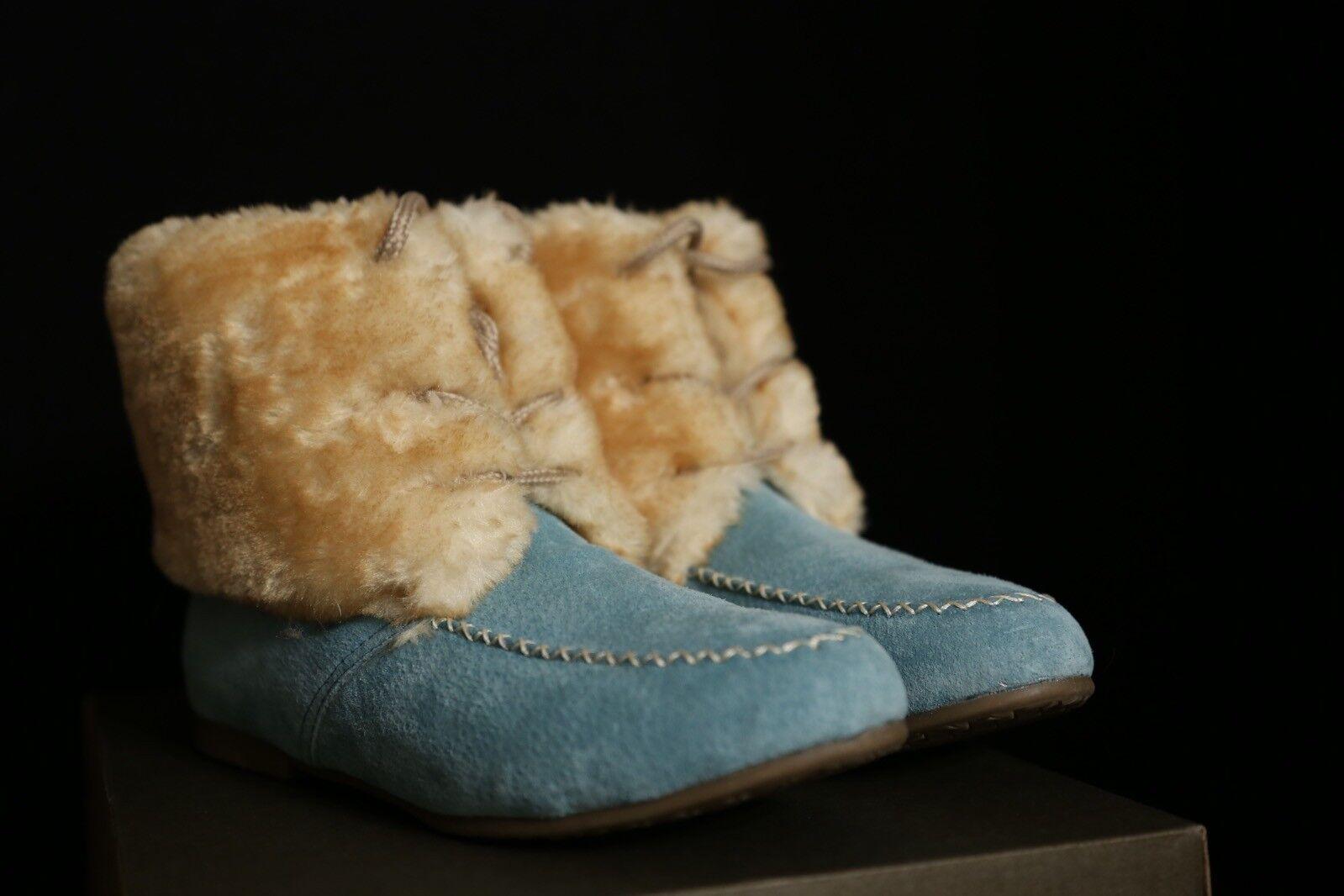Lamb Calzado azul Suede botas w  Faux Fur Fur Fur Talla 6 NEW NIB  Vuelta de 10 dias