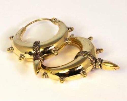 Brass Boho Gypsy Hoops, Tribale Spike grandi Oro Orecchini a cerchio