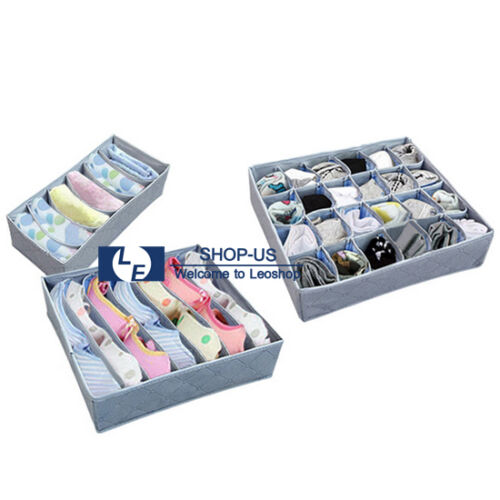 New 3pcs Underwear Closet Container Divider Bra Socks Ties Storage Organizer Box