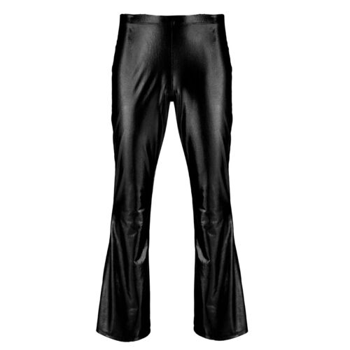 Men Metallic Disco Bell Bottom Flared Long Pants Dance Trousers Costume Clubwear