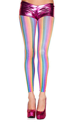 Vintage 70's Retro Opaque Vertical Rainbow Stripes Pride Parade Footless Tights
