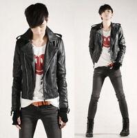 New Mens PU Leather Coat Biker Rider Korean Stylish Slim Fit Jacket Outdoor Coat
