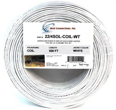 2 Rolls 500/' ft 22-4 GA 4 Conductor Stranded Alarm COPPER Wire LED White