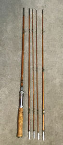 Vintage-Pearl-5pc-Split-Bamboo-Fly-Spin-Rod-Combo-Lot-P49