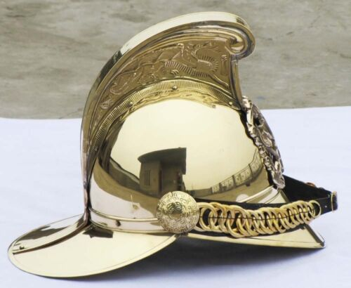 "VICTORIAN /""MERRYWEATHER/"" BRASS FIREMAN FIRE FIGHTER BRIGADE BRITISH CHIEF HELMET"