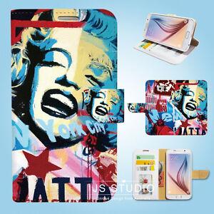 Samsung-Galaxy-S6-7-8-9-10e-Edge-Plus-Note-Wallet-Case-Cover-Marilyn-Monroe-W027
