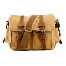 8fd4e8edbab item 2 Men s Military Canvas Leather Satchel School 14