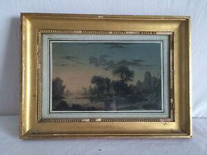 Tableau-XVIIIeme-Aquarelle-Gouache-Papier-POURCELLY-1791-1802-Paysage