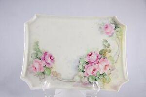 Vtg-LIMOGES-W-GUERIN-1891-1932-France-Porcelain-HANDPAINTED-Pink-Roses-Tray