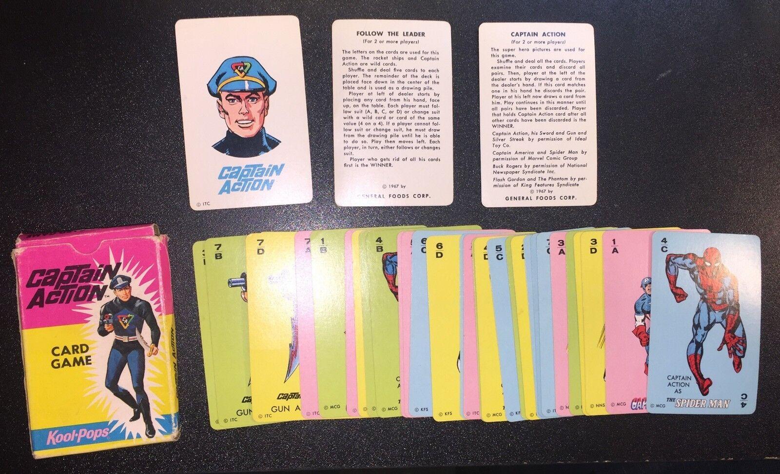 Captain Action Card Game 1967 Kool Pops Original Box Missing 3 Cards