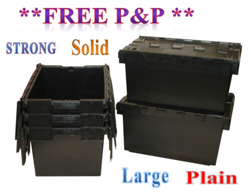 5 Black LARGE Nearly New Plastic Removal Storage Crate Box Container 80L