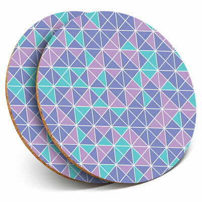 2 x Coasters Blue Geometric Art Deco Triangles Home Gift #21579