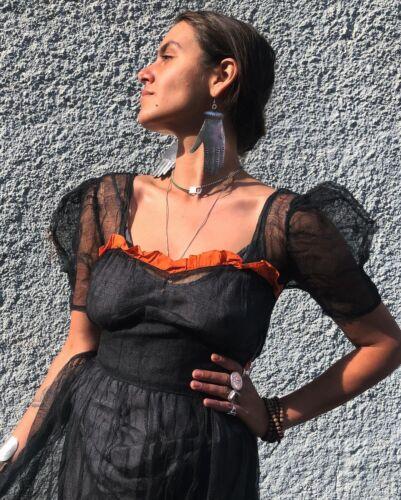 1930s Antique Halloween Costume Set Dress Black Ne