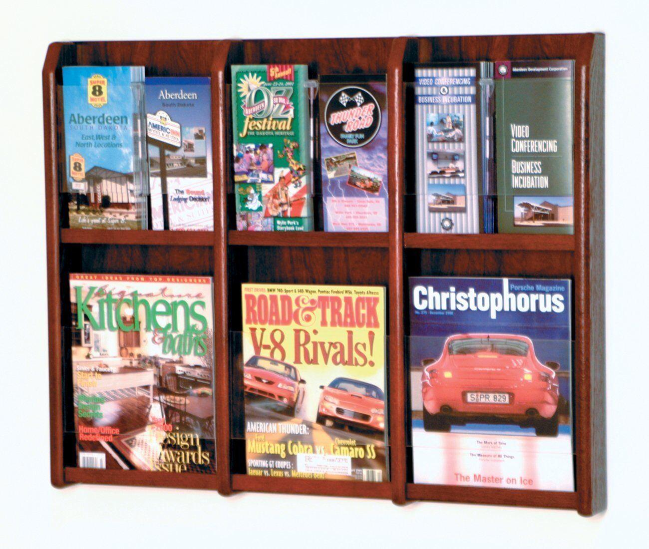 Wooden Mallet Divulge 6 Magazine-12 Brochure Wall Display Mahogany LM-9MH