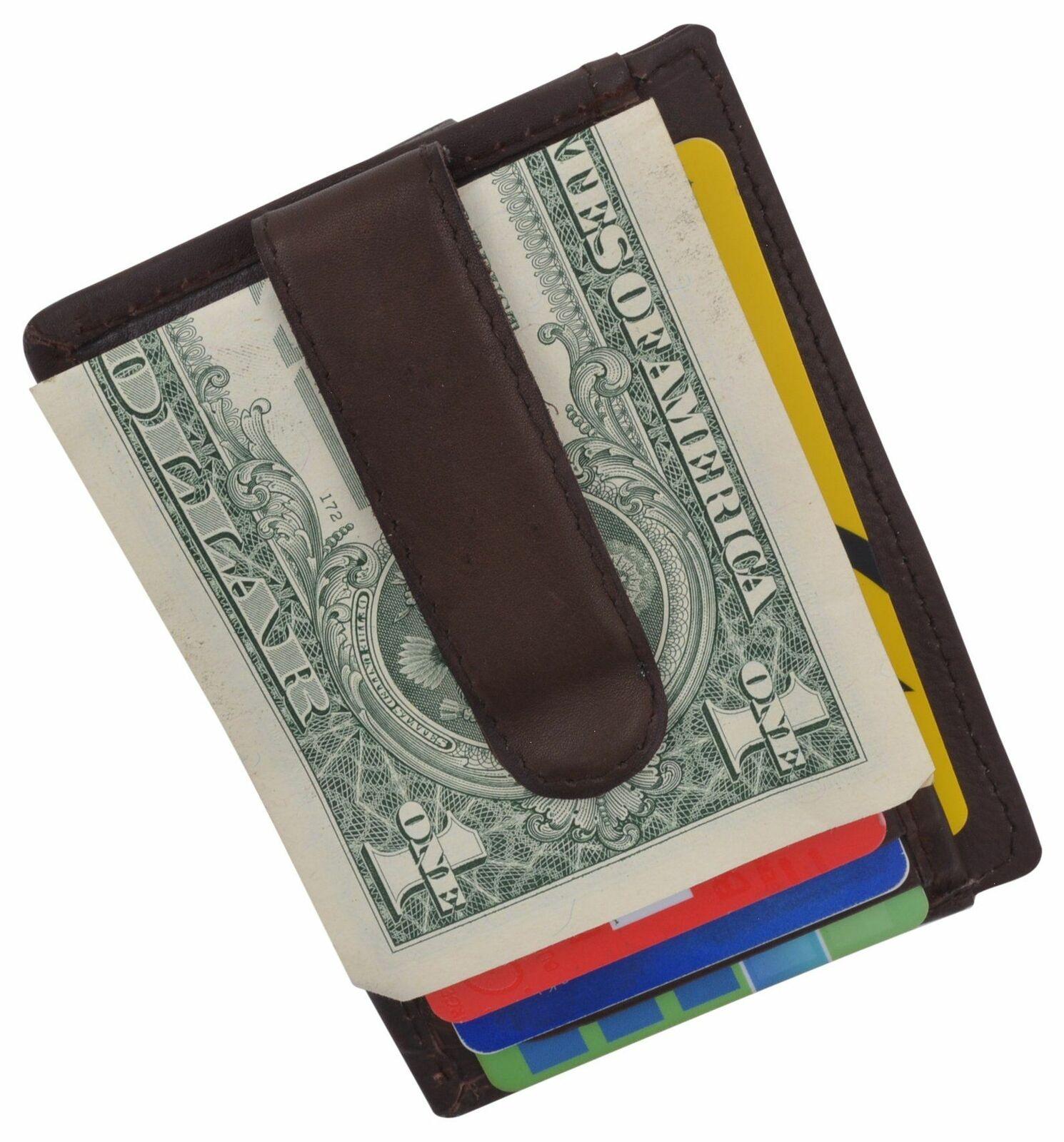 Genuine Leather Slim Credit Card Holder Money Clip Wallet