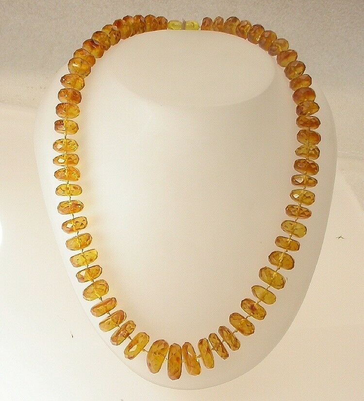 ANTIQUE VINTAGE NATURAL BALTIC AMBER FACETED BEADS NECKLACE 55 GRAMS