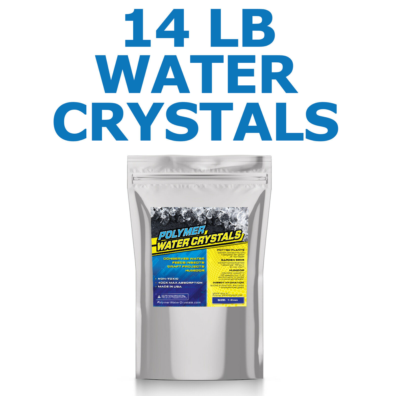 14 LB Water Polymer Crystals Soil Conserve Watering Insect Feeding Cricket - USA