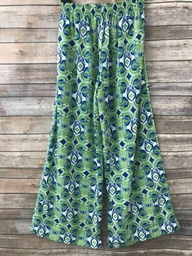 Women/'s Flora by RockFlowerpaper Palazzo Pants dress bottoms Green Blue Large
