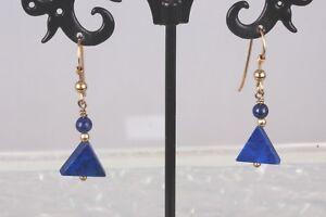 BLUE-LAPIS-STONE-GOLD-TONE-WIRE-EARRINGS-FASHION-1722B