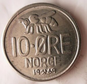 1953 NORWAY 10 ORE Excellent Vintage Coin Free Shipping Norway Bin #3
