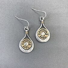 Antique Gold Shotgun Shell 12 GA Design Rhinestone Drop Dangle Style Earrings