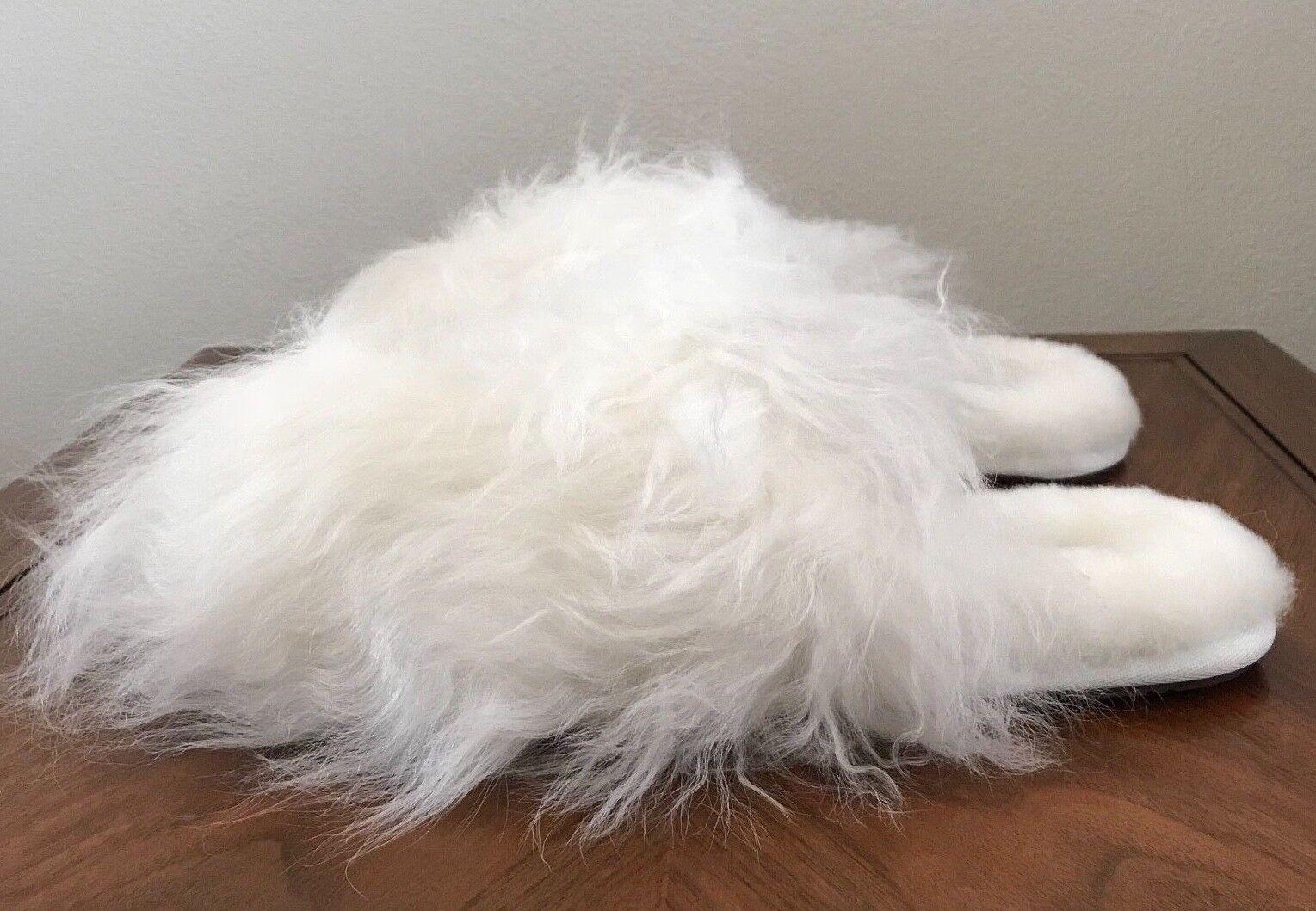 0d7ff3754ee Womens UGG Australia White Fluff Momma Mongolian Clog Slippers 1019726 Sz 9