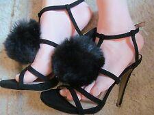 new boohoo doris black strappy pom pom dress shoes size 6