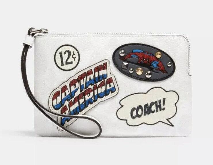 NEW Coach X Marvel Corner Zip Wristlet Signature Canvas With Patches Chalk 3581