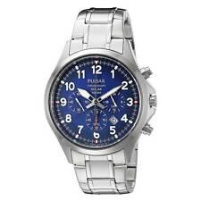 Pulsar PX5037 Men's Chrono Blue Dial Steel Bracelet Solar Watch