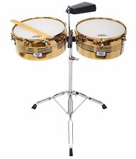 "AM Percussion Libre GX2 GOLD CHROME 13"" 14"" Timbale Set with Stand + Cowbell"