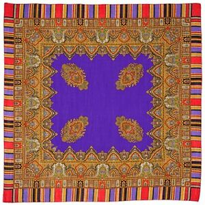 "SUMMER SALE! Russian Pavlovo-Posad Scarf/wrap ""Terem"" 100%wool 89cm/35"" Lilac"