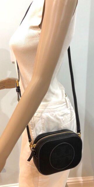 eb2afc67d4b0 Tory Burch Perforated Logo Round Black Leather Crossbody Handbag Purse New+  Box