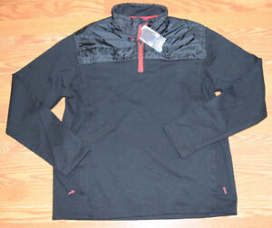 NWT-Mens-EDDIE-BAUER-Black-Mixed-Media-1-4-Zip-Pullover-Jacket-XXLT