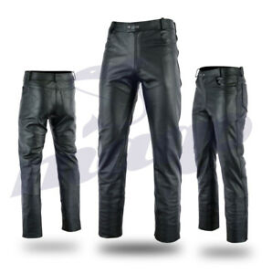 Mens-Motorbike-Motorcycle-Fashion-Cowhide-Top-Grain-Leather-Jeans-Trouser