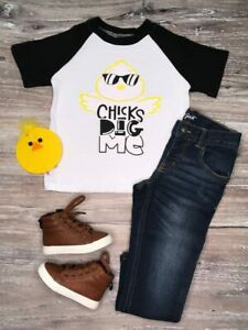 Boys-Toddler-Chicks-Dig-Me-Spring-Easter-Raglan-Top-T-Shirt-2T-3T-4T-5-6-7-8