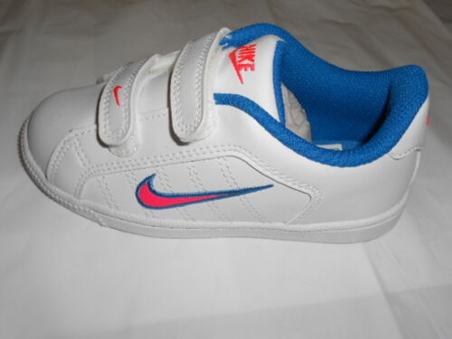 Pink Nike Court Tradition 2 PLUS Infant Girls Leather Trainers  White Blue