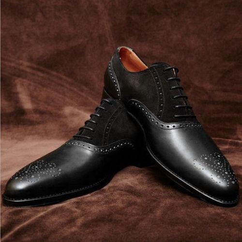 Mens Handmade Black Brogue Leather Shoes Oxford Bespoke Dress Stylish Formal