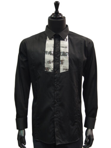 Barabas Black White Sequin Embellish Front Trendy Long Sleeve Dress Casual Shirt
