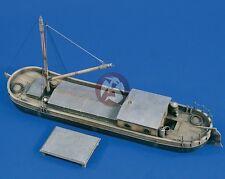 Verlinden 1/35 Small River Barge (Flat-bottomed Boat) w/FlaK Platform WWII 1679