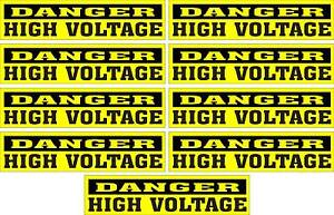 LOT-OF-9-GLOSSY-STICKERS-DANGER-HIGH-VOLTAGE-FOR-INDOOR-OR-OUTDOOR-USE