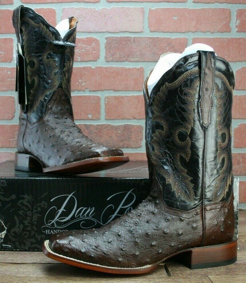 Dan Post Chocolate Quilled Ostrich Cowboy Western Boots Women's Square Toe 10 M