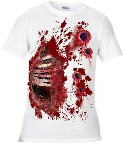Zombie-walking-dead-Halloween-t-shirt-blood-spatter-Gunshot-wound-fancy-dress