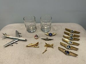 Vintage-Airlines-Souvenir-Wings-Pin-Tie-Pin-Glass-Cup-Eastern-AA-Alaska-Air
