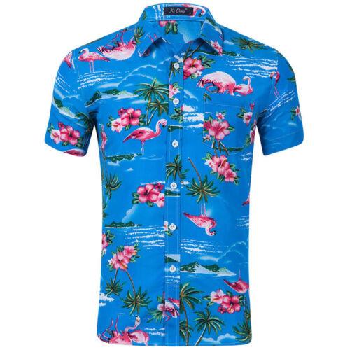 Summer Men/'s Flamingo Print Casual Shirts Button Front Short Sleeved Dress Shirt